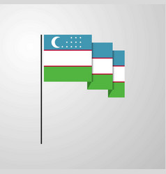 uzbekistan waving flag creative background vector image
