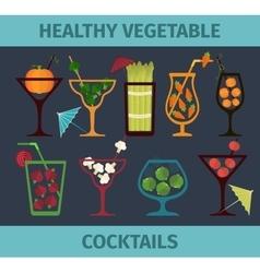 Vegetable healthy cocktails vector
