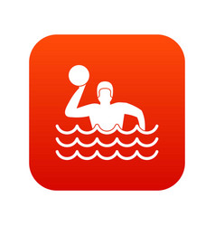 water polo icon digital red vector image