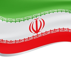 Waving flag of Iran isolated on white background vector image