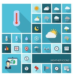 Weather icons with long shadow vector