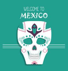 welcome to mexico skull decoration vector image