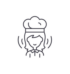 woman cook line icon concept woman cook vector image
