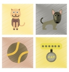 assembly flat shading style icons pets and vector image vector image