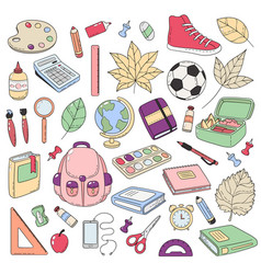 Doodle icons collection school supplies vector