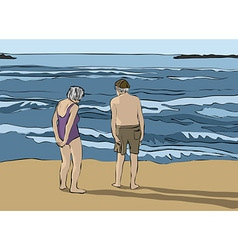 Elderly couple looking at the horizon vector image vector image