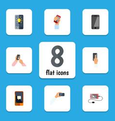 Flat icon smartphone set of interactive display vector