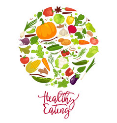 healthy eating agitation poster with fresh organic vector image vector image