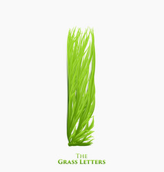 letter i of juicy grass alphabet green i vector image