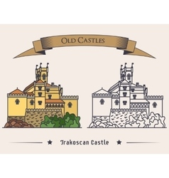 Exterior view on Trakoscan old castle vector image