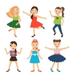 Little happy girl characters vector image vector image
