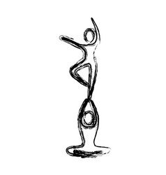 sketch of couple dancer pirouette in one foot vector image