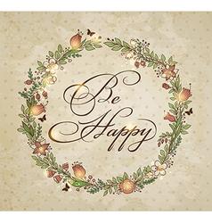 Vintage hand drawn floral frame vector image vector image