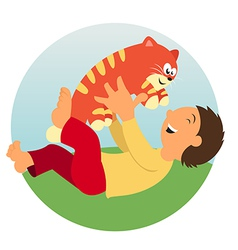 A Kid and a cat vector image vector image