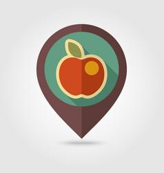 Apple flat pin map icon fruit vector