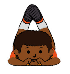 black little boy lying character vector image