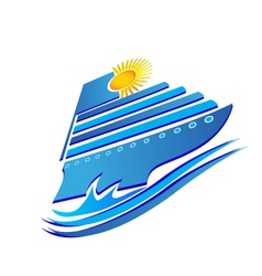 Cruise sun and waves logo vector image vector image