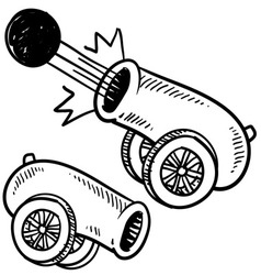 doodle cannon ball vector image