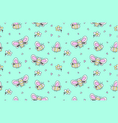 hand drawn butterflies seamless pattern vector image vector image