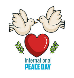 international peace day two pigeon together big vector image