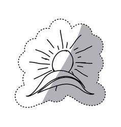 monochrome contour sticker with hand drawn sun vector image vector image