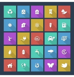 Set of colored ecology icons on square background vector image