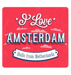 vintage greeting card from amsterdam vector image vector image