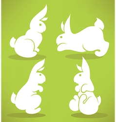 white rabbits vector image