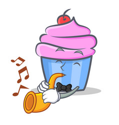 cupcake character cartoon style with trumpet vector image vector image