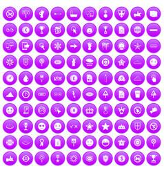 100 symbol icons set purple vector