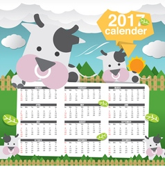 2017 Printable Calendar Starts Sunday Cute Cow vector image