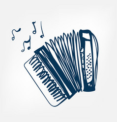 accordion sketch isolated vector image
