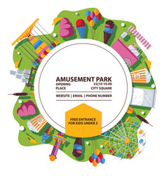 amusement park poster bright composition vector image