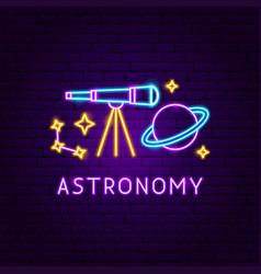astronomy neon label vector image