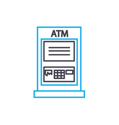 atm transactions thin line stroke icon atm vector image