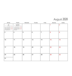 August 2020 simple calendar planner week starts vector