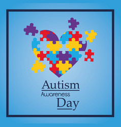 Autism awareness day colorful puzzle heart shape vector