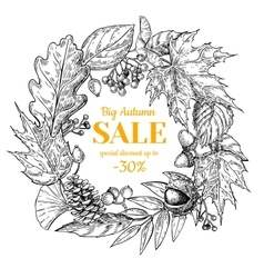 Autumn sale wreath banner with leaves vector
