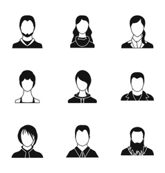 Avatar people icons set simple style vector
