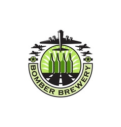 B-17 Heavy Bomber Beer Bottle Brewery Retro vector