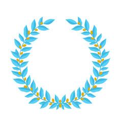 blue laurel wreath with golden berries vintage vector image