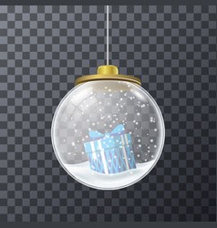 Blue present inside of crystal bauble vector
