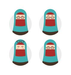 Blue tosca niqab hijab hijaber wear eyeglasses vector