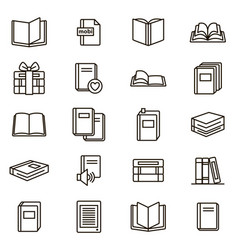 Book signs black thin line icon set vector