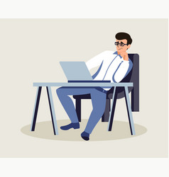 Boss in private office flat vector