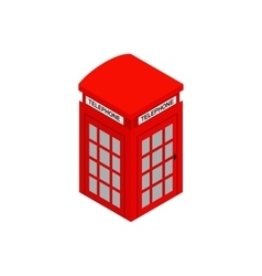 British red phone booth icon isometric 3d style vector