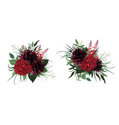 burgundy red green watercolor floral bouquets vector image