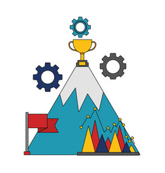 business mountain trophy flag diangram vector image