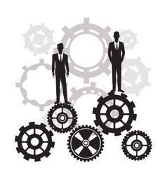 businessmen standing gear teamwork silhouette vector image