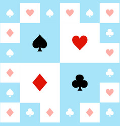card suits blue red white chess board background vector image